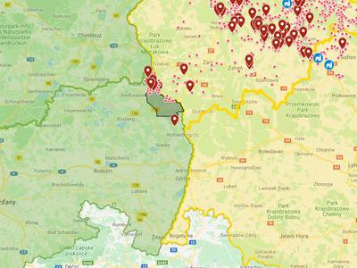 Německo: nálezy AMP mimo jádrové oblasti